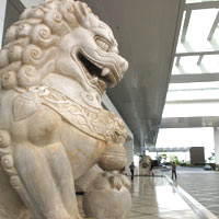 Top Manila casino hotels review, Solaire marble lion at entrance