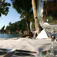 Palawan dining in style, seafront dining at Lagen Island Resort