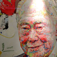 Lee Kuan Yew portrait at Raffles City art gallery