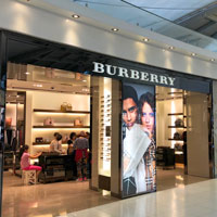 Duty free shopping at Bangkok Airport Suvarnabhumi, Burberry store and major designer brands