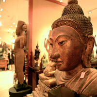 Bangkok antique shopping at River City, Rich Collection statues