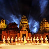 Phimai temple light show