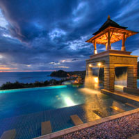 Krabi luxury resorts, Pimalai pool catches the sunset reflections