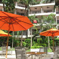 Phuket child friendly resorts, DoubleTree orange umbrellas