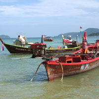 Fishing boats at Rawai Beach in the far south