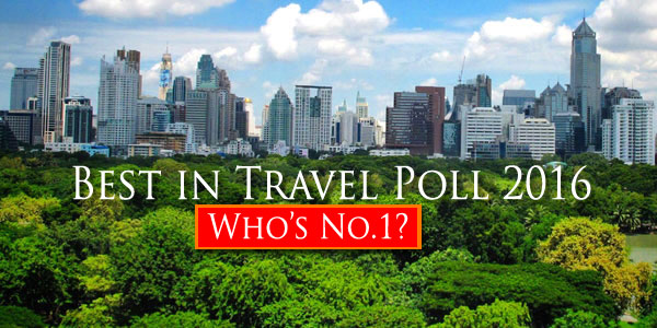 2016 Best in Travel Poll - Bangkok ranked the Best City for Leisure in Asia
