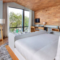 Saigon design hotels, Fusion Suites, woody Alpine hues