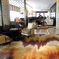 Top Chengdu business hotels reviewed, Ritz-Carlton's textured lobby carpet - photo by Vijay Verghese