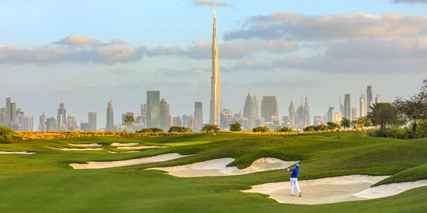 Best Asian golf courses, Dubai Hills with its spectacular skyscraper backdrop