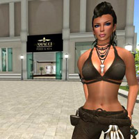 Second Life shopping for the latest in women's fashions and hair-dos