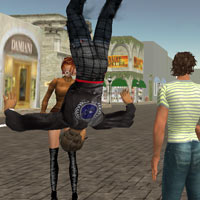 Teleporter falls from the skies, Second Life virtual travel