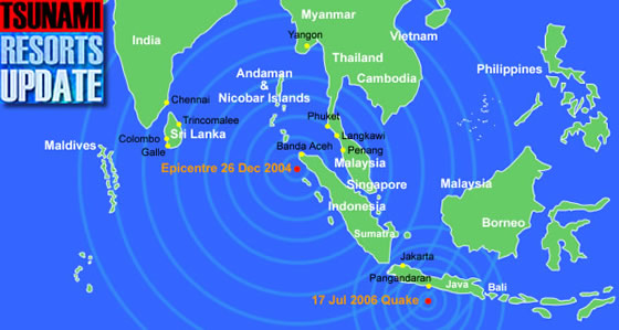 Asia Tsunami Map With 26 December 2004 Epicentre And Java Quake Of 17 July 2006