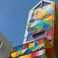 Sham Shui Po district is alive with street art and brightly painted buildings