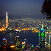 Hong Kong fun guide, Victoria Harbour evening lights switch on