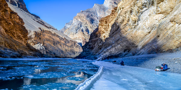 Zanskar winter chadar trek guide - hikers follow the frozen river banks