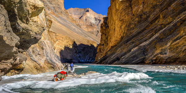 The Zanskar River narrows at Naerak - this is a popular short trek from Chilling