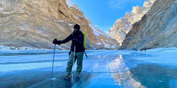 Stanzin Odzer from Ecological footprint poses on the ice chadar, Zanskar River January 2020