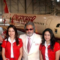 Kingfisher airhostess with Mallya