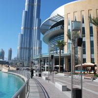 Dubai fun guide and shopping, Dubai Mall with Burj Khalifa tower in the background